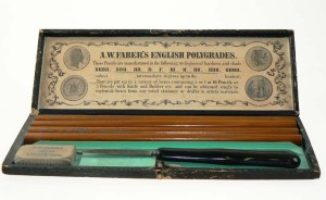 A.W. Faber Etui Drawing Requisites_Stifte Set mit Radiergummi_um 1895