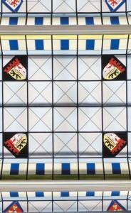 Das bergische Wappen im Lichthof-Fenster