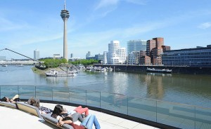 Ein großartiges Panorama zeigt sich im Medienhafen