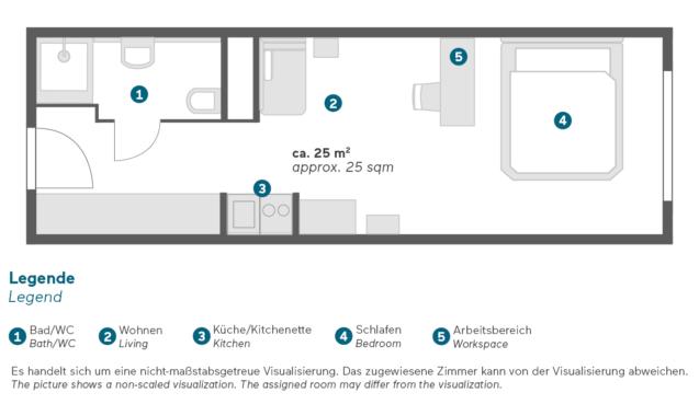 Living Hotel am Deutschen Museum München Business King Apartment Grundriss