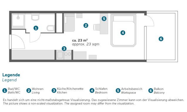 Living Hotel am Deutschen Museum München Business Queen Apartment Grundriss