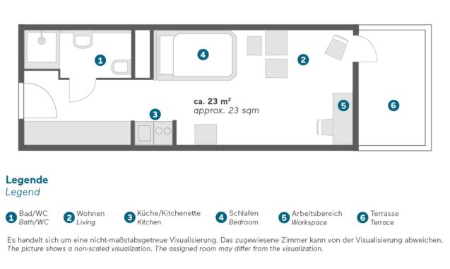 Living Hotel am Deutschen Museum München Business Zimmer Grundriss
