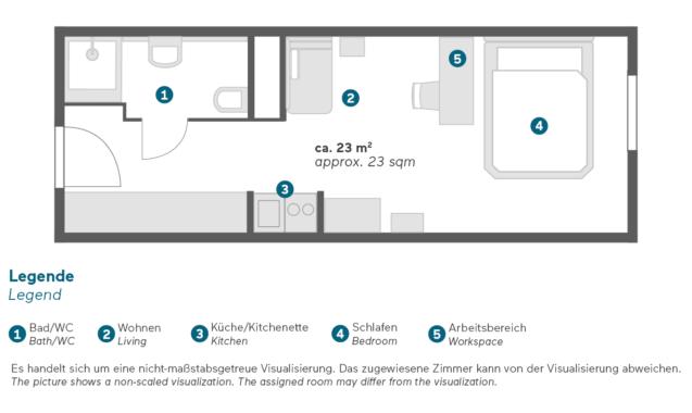 Living Hotel am Deutschen Museum München Economy Queen Grundriss