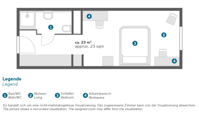 Living Hotel am Deutschen Museum München Economy Zimmer Grundriss