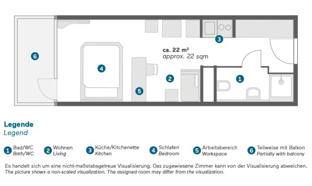 Living Hotel am Olympiapark München Doppel Business Grundriss