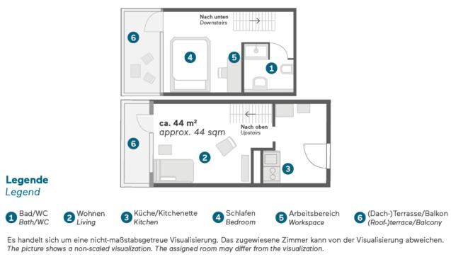 Living Hotel am Olympiapark München Business Maisonette Grundriss