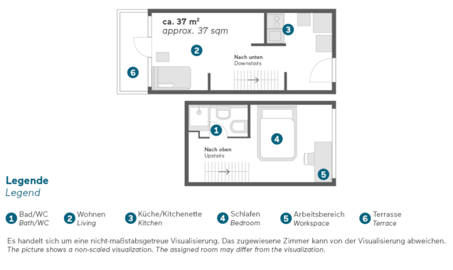 Living Hotel am Olympiapark München Superior Maisonette Grundriss