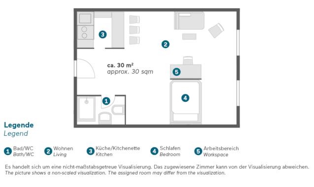Living Hotel Düsseldorf Doppel Deluxe Grundriss