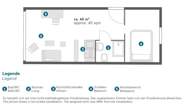 Living Hotel Düsseldorf Doppel Superior Grundriss
