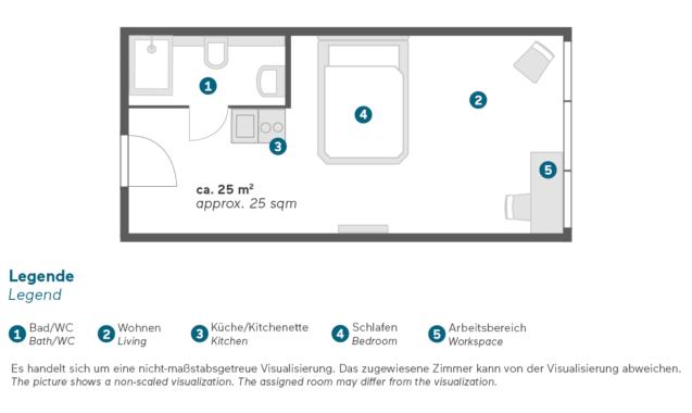 Living Hotel Düsseldorf Doppel Business Zimmer Grundriss