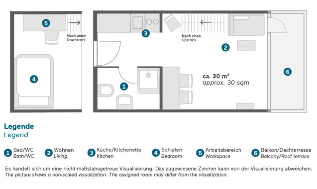 Living Hotel Nürnberg Maisonett Grundriss