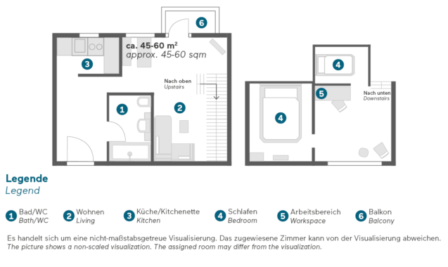 Living Hotel Nürnberg Superior Maisonette Grundriss