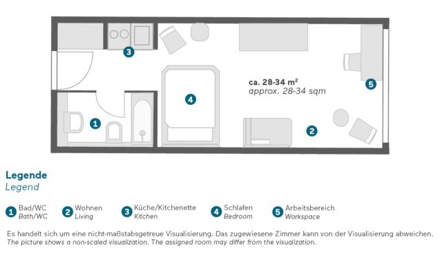 Living Hotel Prinzessin Elisabeth München Einzel Doppel Business Grundriss