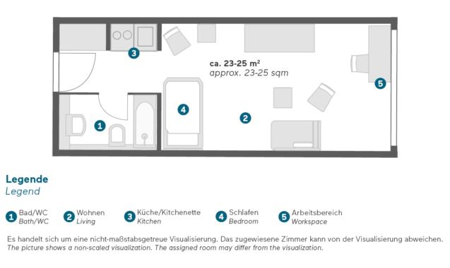 Living Hotel Prinzessin Elisabeth München Einzel Business Grundriss