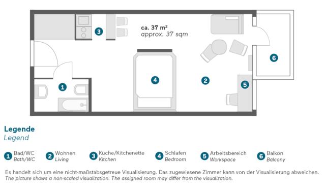 Living Hotel Weißensee Berlin Business Plus Zimmer Grundriss
