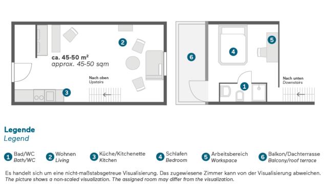 Living Hotel Weißensee Berlin Deluxe Maisonette Zimmer Grundriss