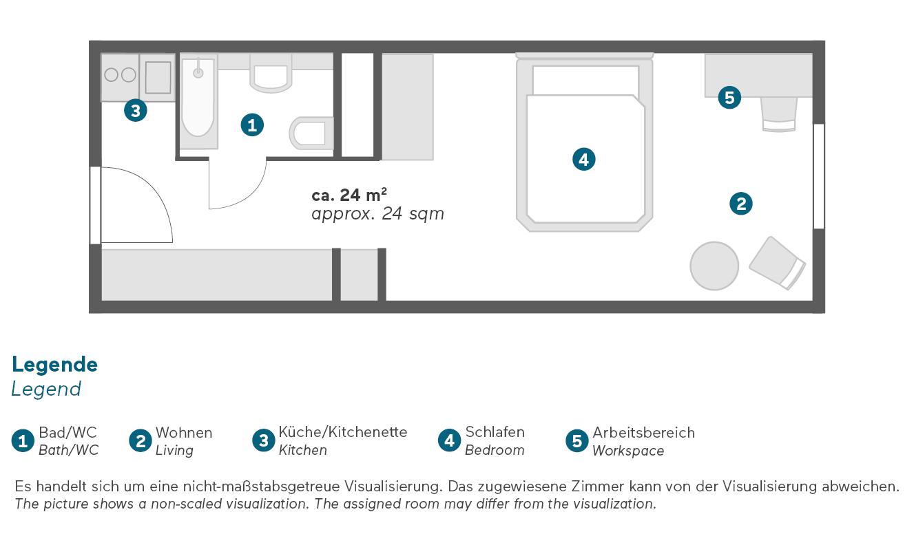 Living Hotel Berlin Mitte Business Plus Zimmer Grundriss