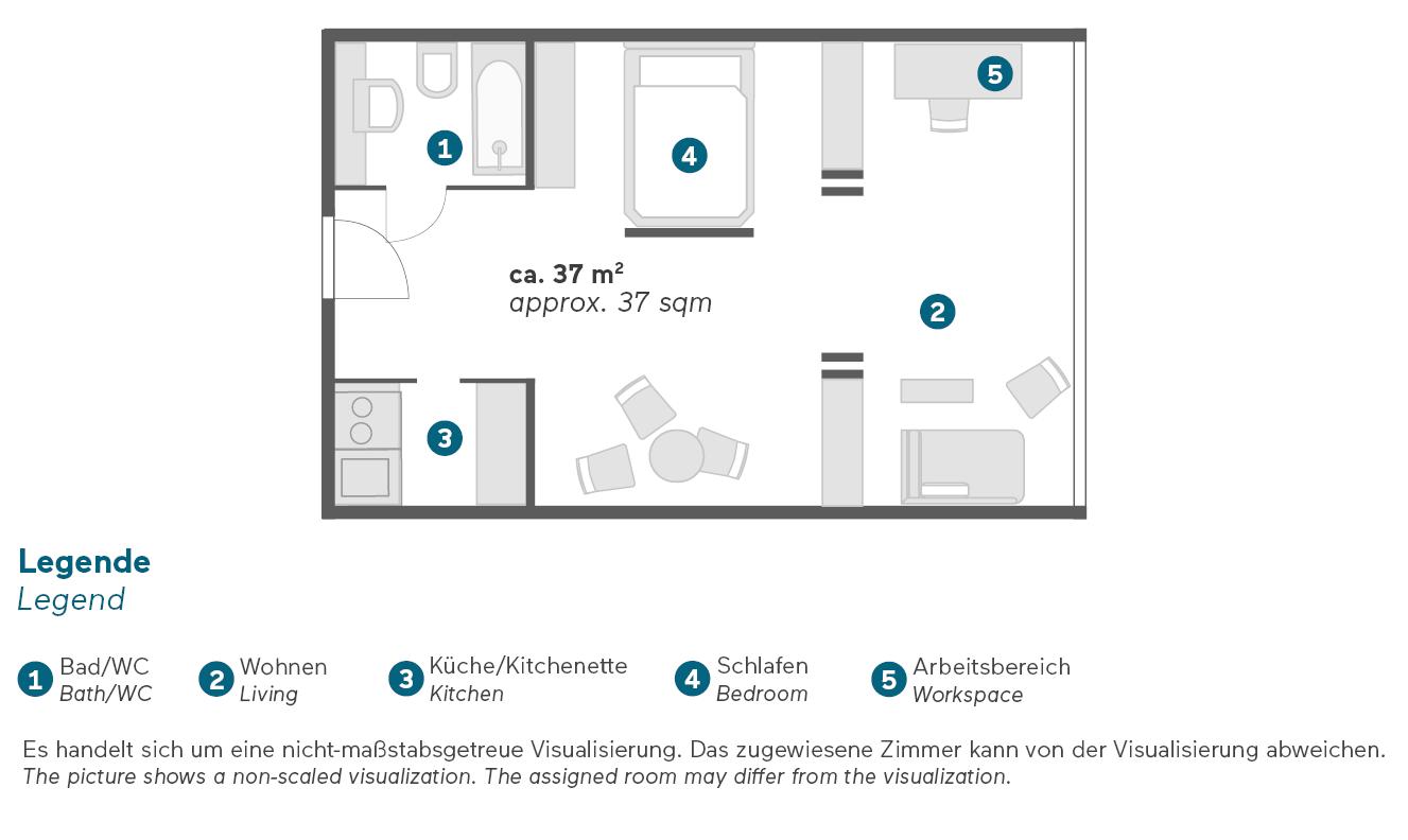 Living Hotel Kanzler Bonn Deluxe Zimmer & Apartments Grundriss