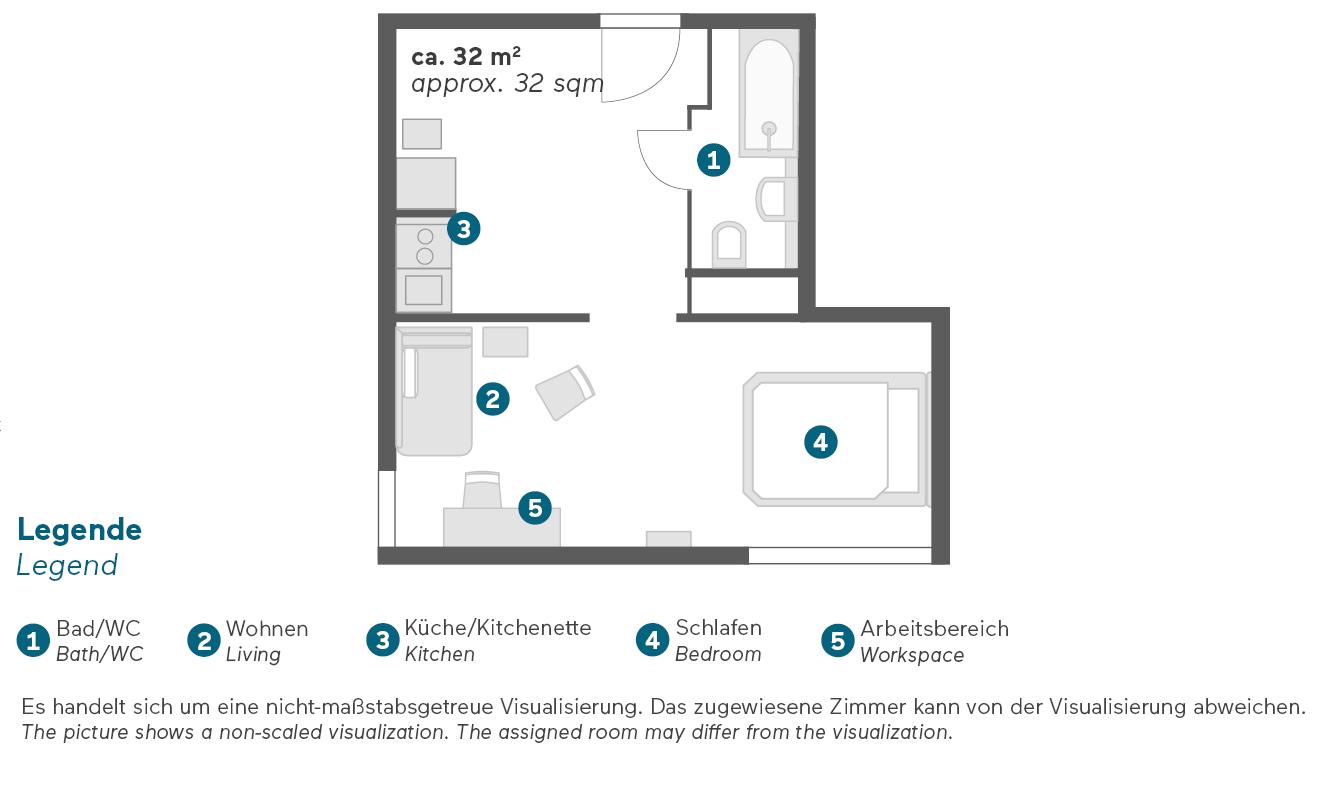 Living Hotel Großer Kurfürst Berlin Deluxe Apartment Grundriss