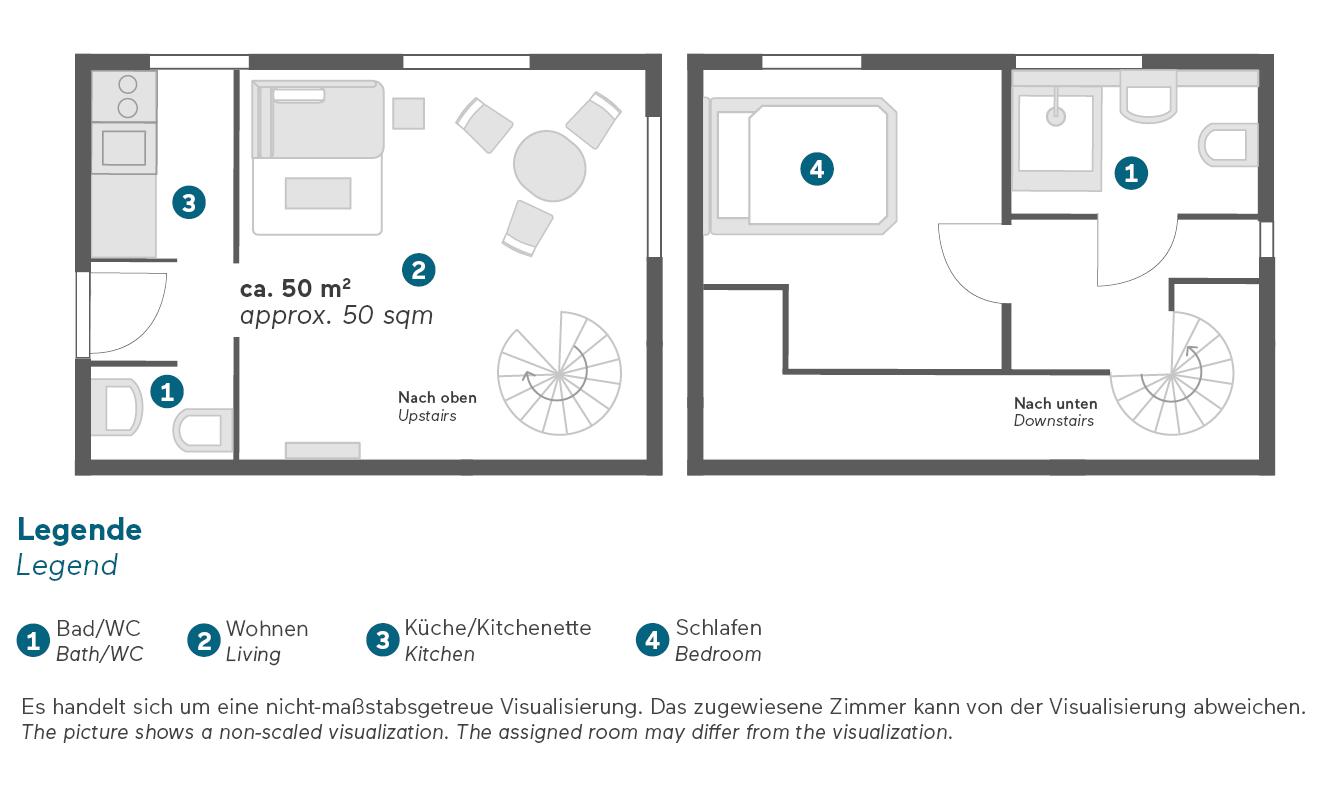 Living Hotel Appartements Johann Wolfgang Frankfurt Business Plus Maisonette Grundriss