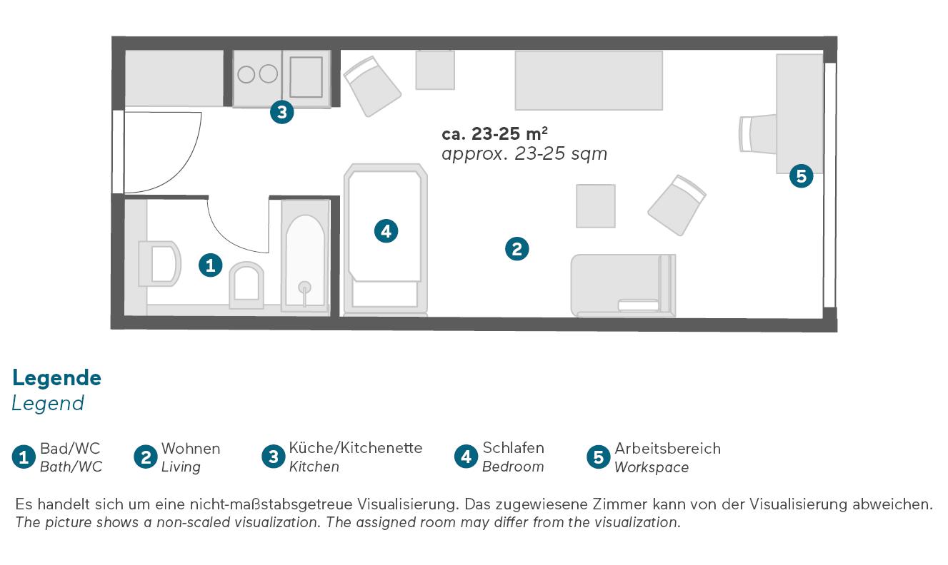 Living Hotel Prinzessin Elisabeth München Einzel Business Zimmer Grundriss