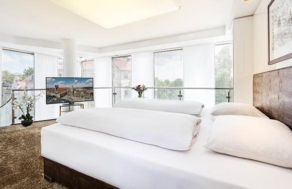 Living Hotel Prinzessin Elisabeth München Penthouse Suite Schlafzimmer
