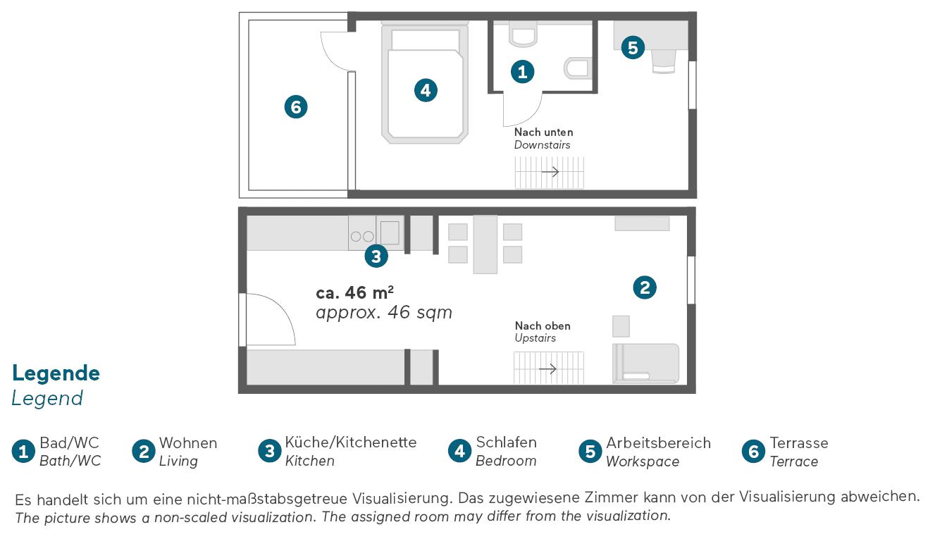 living-hotel-am-deutschen-museum-münchen-superior-maisonette-apartment-grundriss