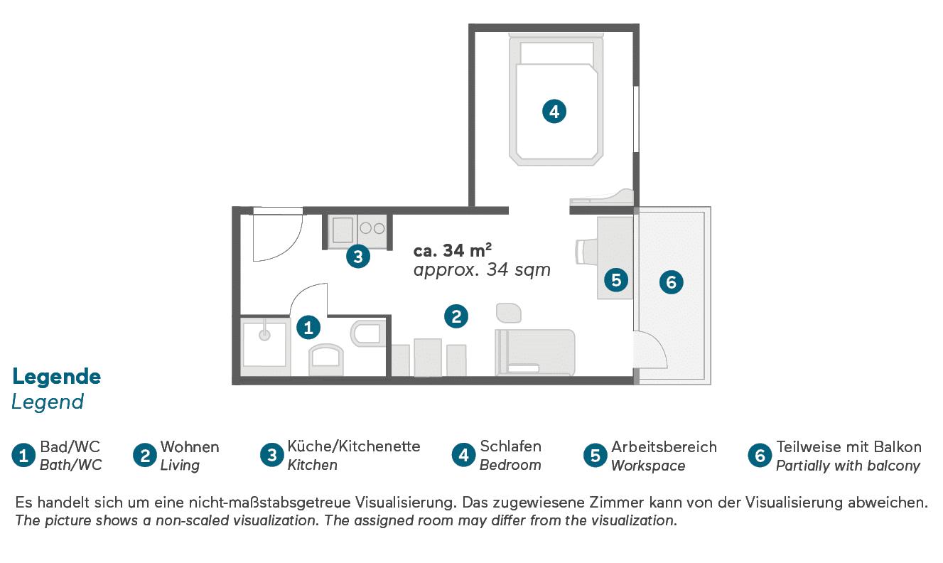 Living Hotel am Olympiapark München Doppel Superior Apartment Grundriss
