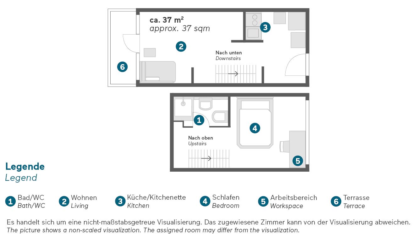 Living Hotel am Olympiapark München Maisonette Superior Apartment Grundriss