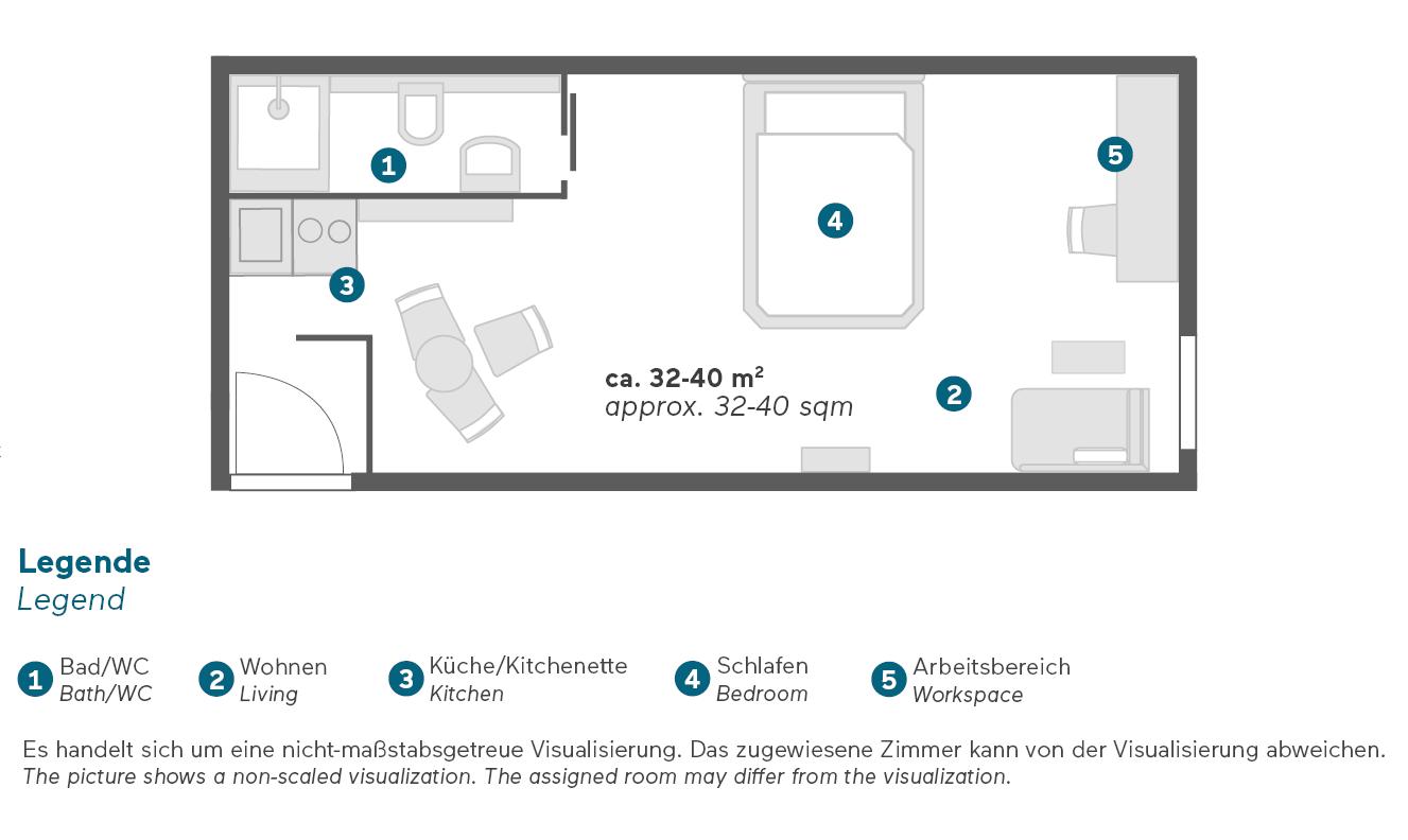Living Hotel Das Viktualienmarkt München Business Plus Zimmer Grundriss