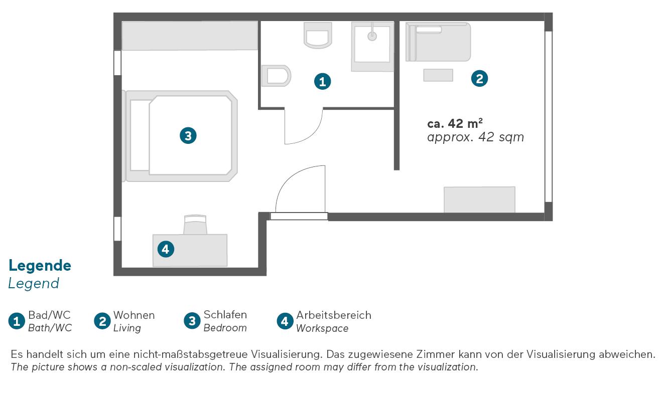 Living Hotel Das Viktualienmarkt München Junior Suite Grundriss