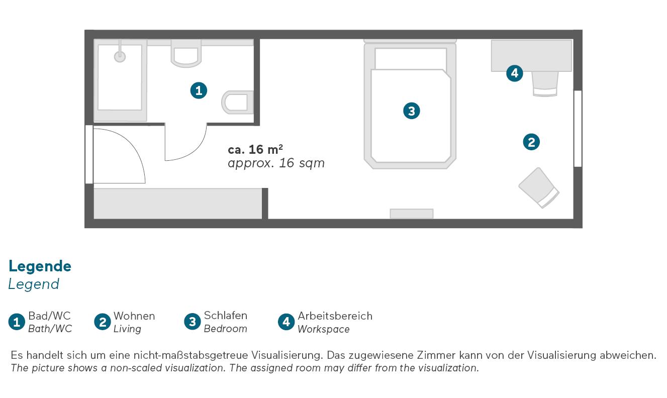 Living Hotel De Medici Düsseldorf Business Plus Zimmer Grundriss