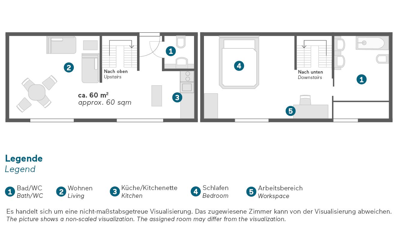 Living Hotel De Medici Düsseldorf Maisoentte Suite Grundriss